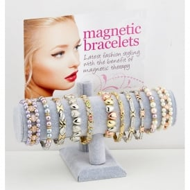 Magnetic bracelet display.Contains 24 assorted metal and elasticated magnetic bracelets.Supplied complete with complimentary pouches.