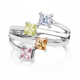 Price for Pack of 2.Silver Plated Pink,Yellow, Topaz and Lilac Cubic Zirconia and Crystal Ring.  Supplied with a  Presentation Box.