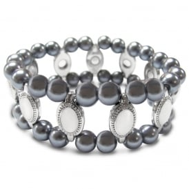 Price for Pack of Two. Grey Pearlised Beaded Elasticated Bracelet. Supplied with Organza Pouch.