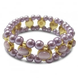 Price for Pack of Two. Lilac & Opal Bead Elasticated Bracelet. Supplied with Organza Pouch.