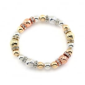 Price for Pack of Two. Lovely Trio Colour Beaded Elasticated Bracelet. Supplied with Presentation Box.