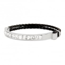 Price for pack of two. On Trend Black Corded Bracelet with Rhodium Plated Stones. Supplied with Organza Pouch.