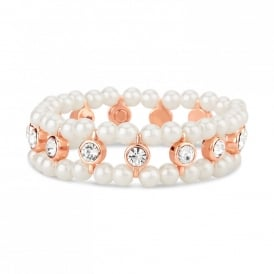 Price for Pack of Two. Rose Gold Plated Faux Pearl Brilliant Set Stone Elasticated Magnetic Bracelet. Supplied with Organze Pouch.