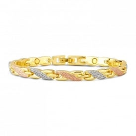 Price for Pack of Two. Rose, Silver & Gold Plated Kiss Magnetic Bracelet. Supplied with Organza Pouch.