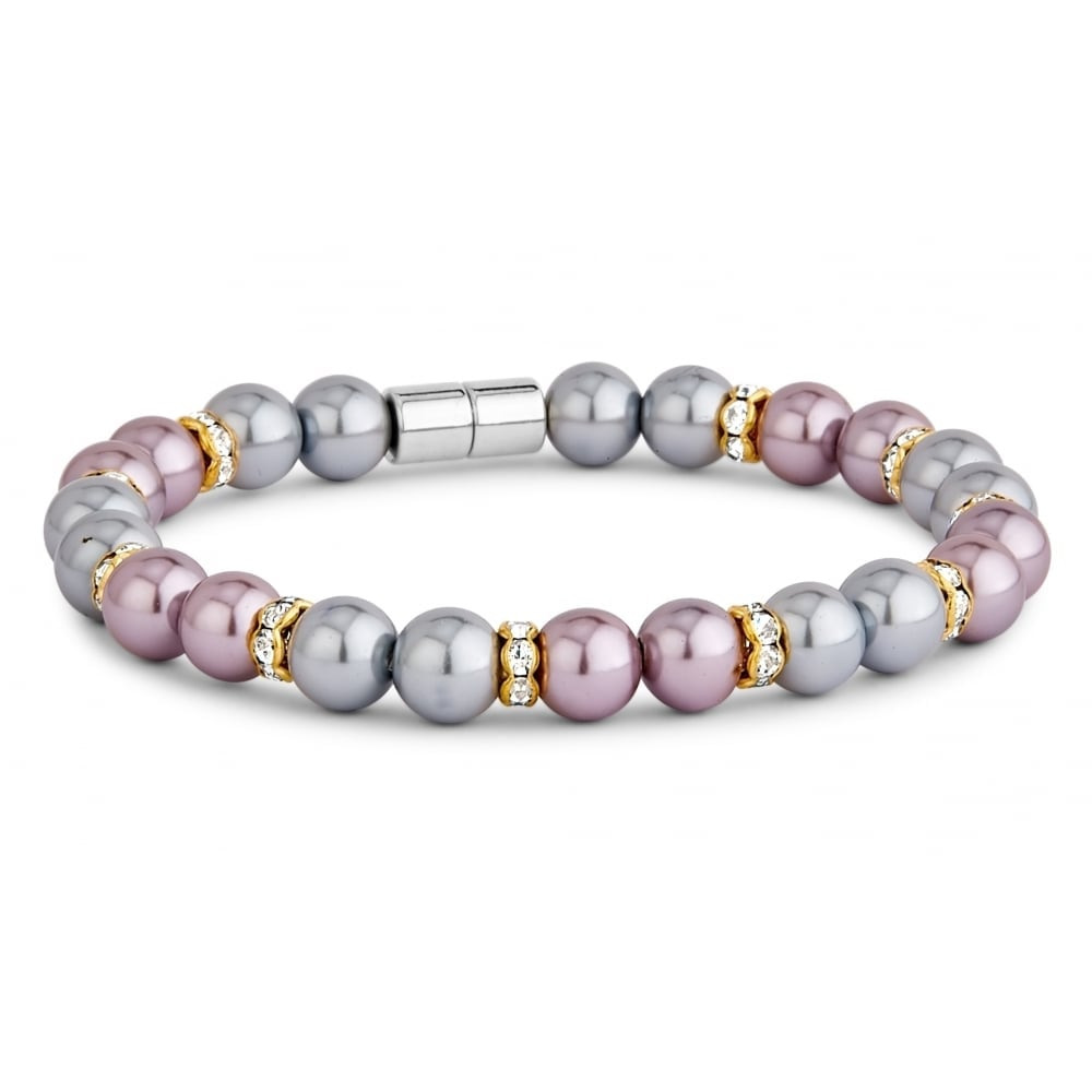 pearl and mixed coloured magnetic beaded bracelet