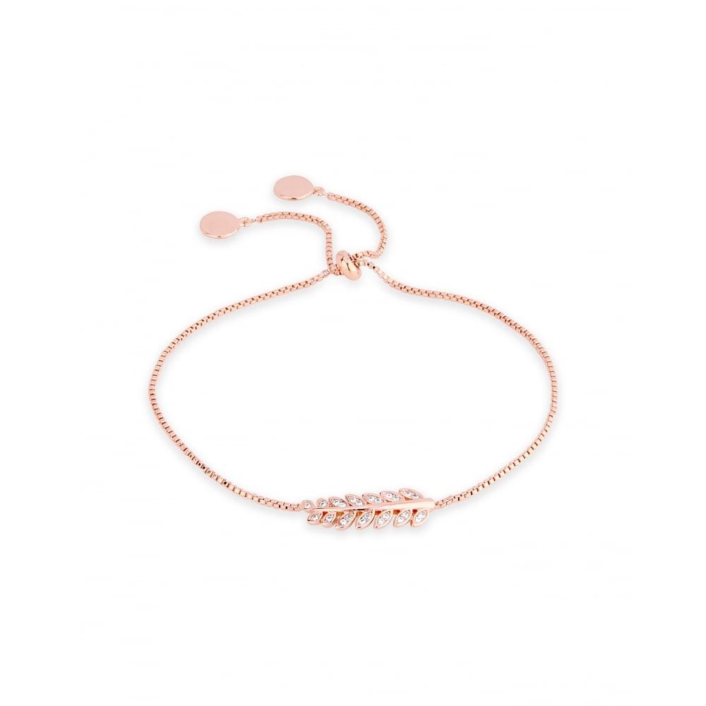 Delicate Rose Gold Plated Cubic Zirconia Crystal Leaf Bracelet