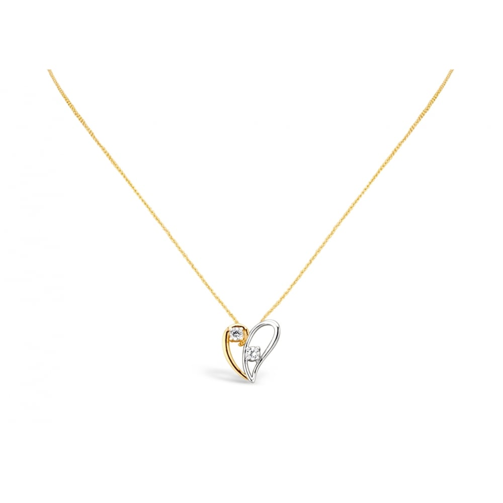 7c54f827672 PACK OF TWO. Elegant Double Heart Delicate Necklace with Silver   Rose Gold  Plating. Split Heart Detailing with Crystal Stone.Pendant box.
