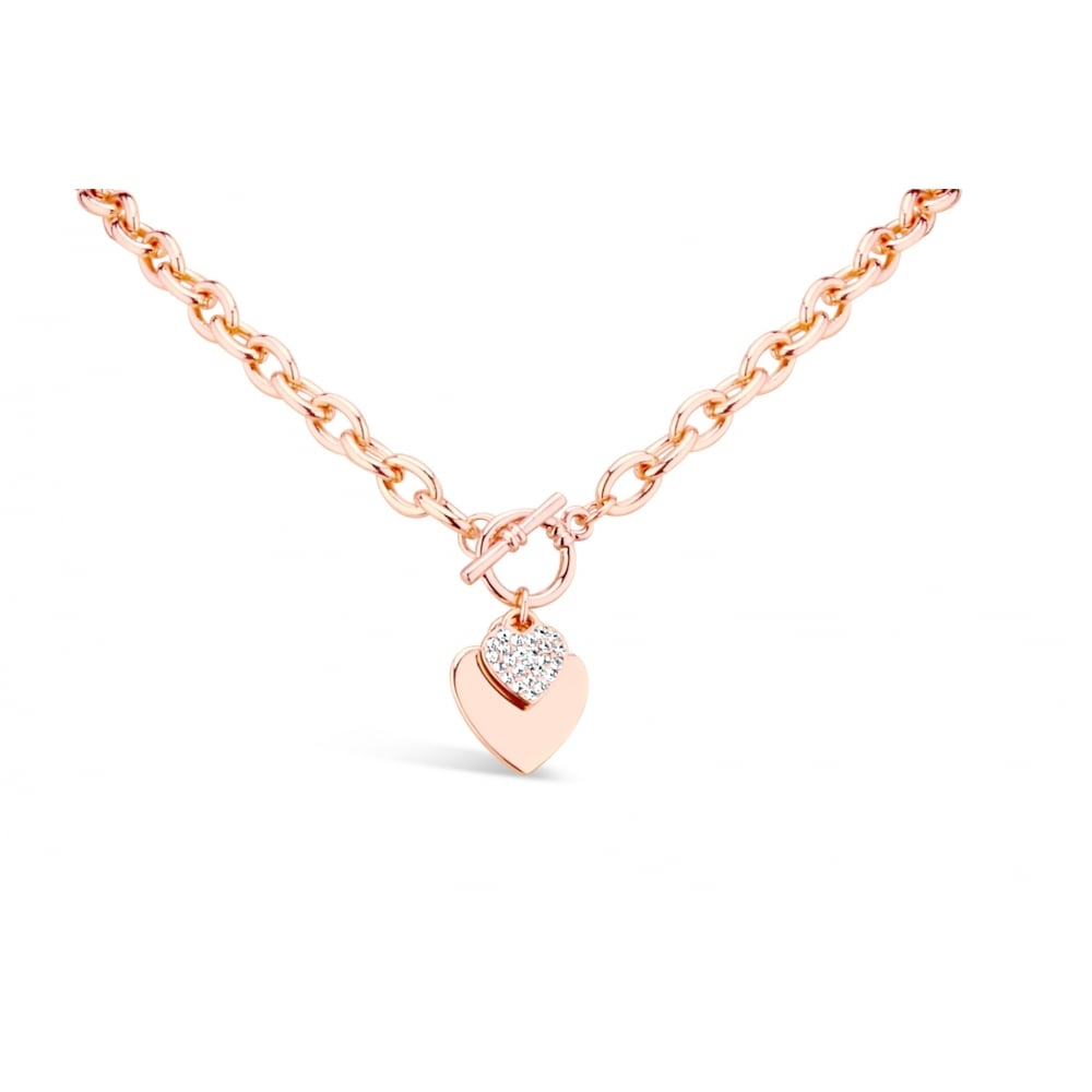 Elegant Rose Gold Plated T Bar Double Heart Necklace 20mm Drop