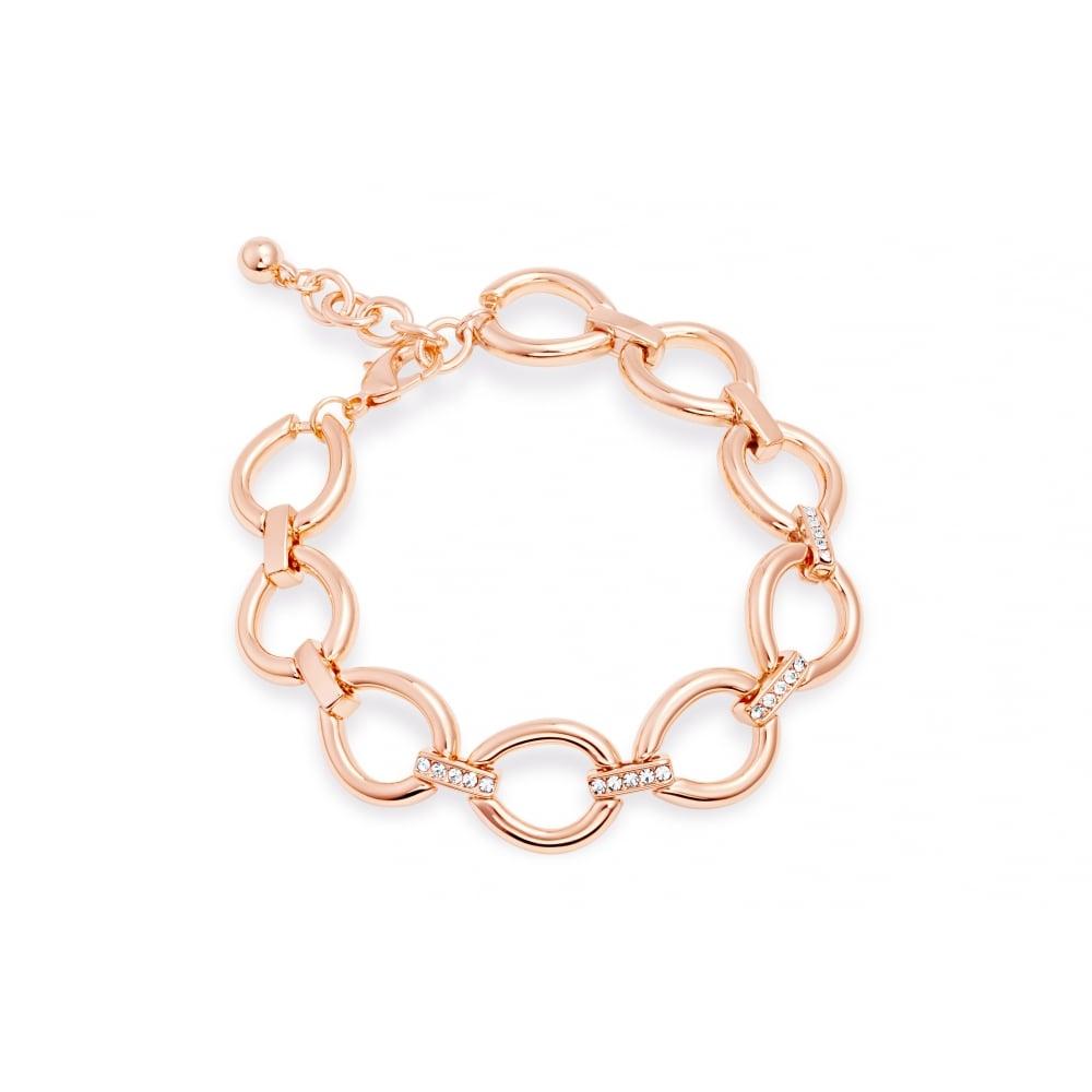 4fc11b5c127 Lovely Rose Gold Plated Crystal Link Bracelet