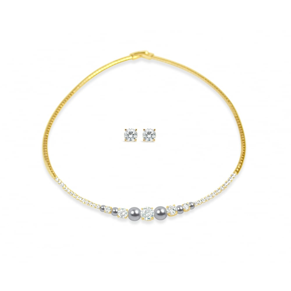 Gold Plated With Cubic Zirconia Stones And Grey Pearls Necklace