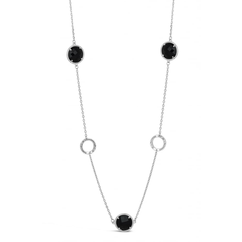 PRICE FOR PACK OF 2 43'' Long Antique Black Glass Stone Imitation Rhodium  Plated Necklace, N18092 With Free Pouch