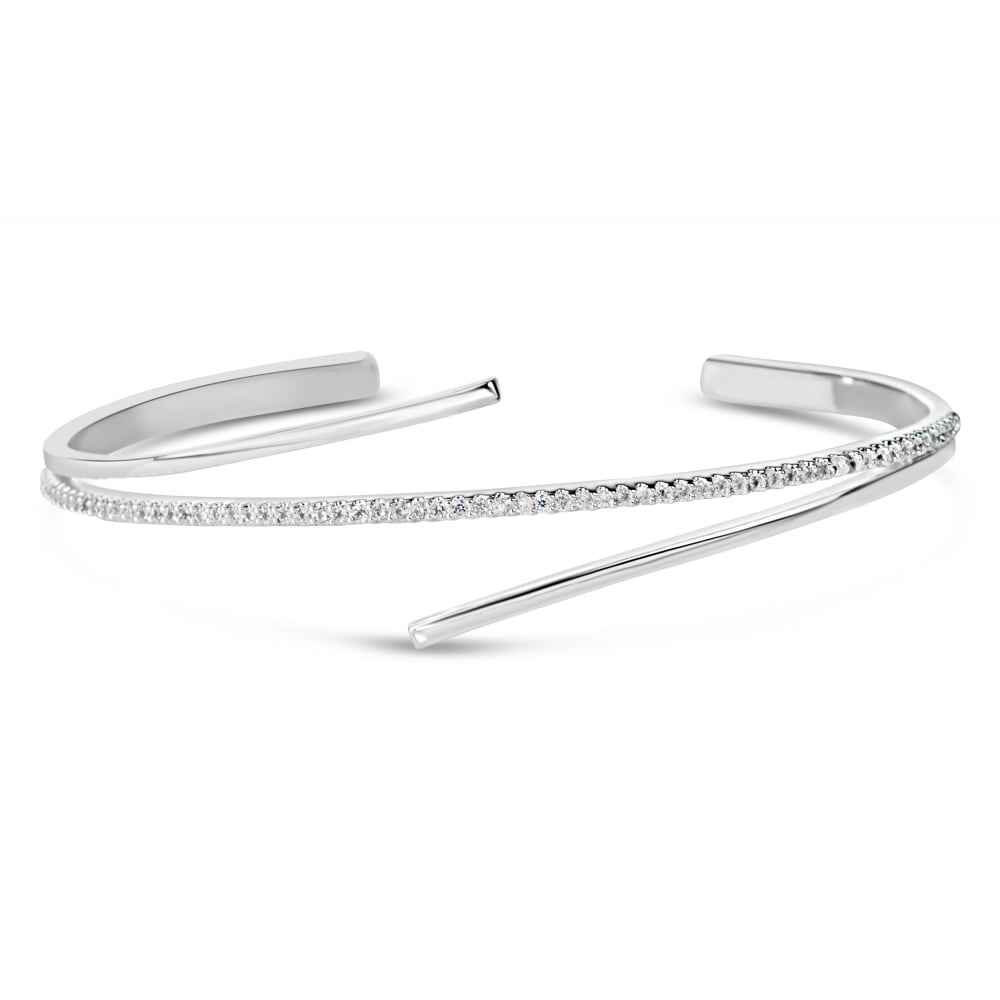 swarovski bangle cross bracelet plated rhodium