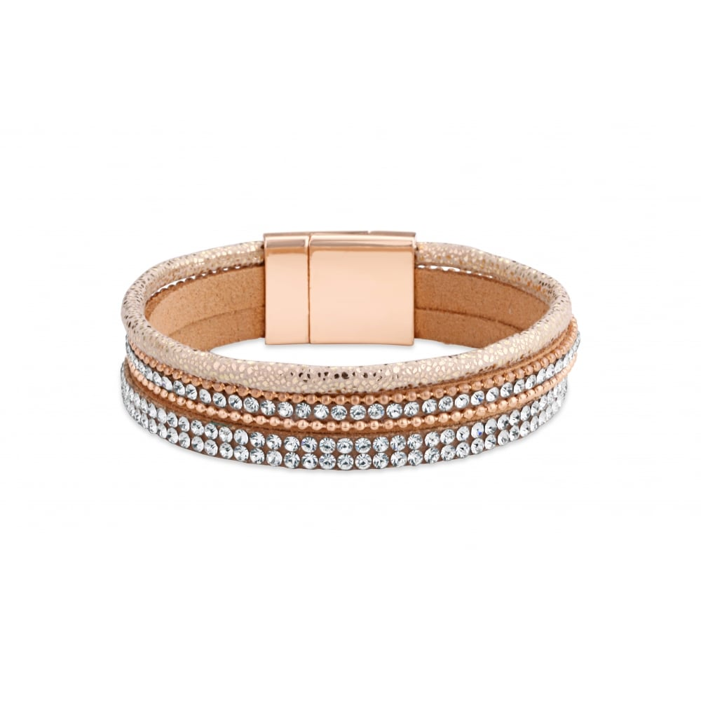 Elegant Magnetic Clasp Crystal Stone Set Bracelet