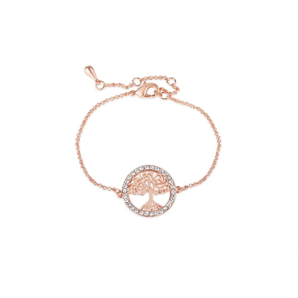 Beautiful Crystal Stone Set Rose Gold Plated Tree Of Life Bracelet