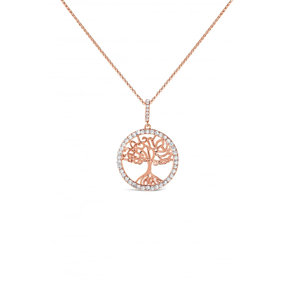 Rose Gold Plated Crystal Set Tree of Life Necklace N20RG