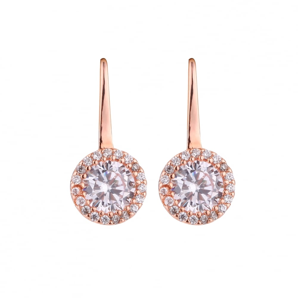 Beautiful Rose Gold Plated Cubic Zirconia Stud Earrings