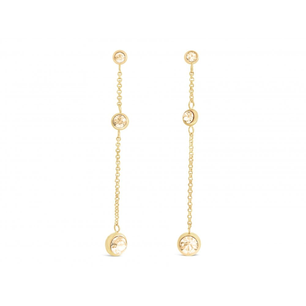 Price For 1 Gold Plated Swarovski Crystal Long Drop Earrings E18696 With Free Gift Box