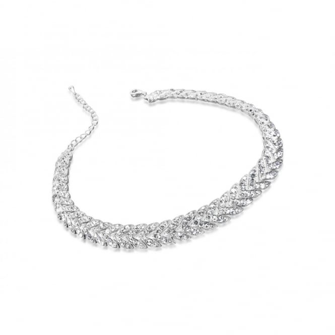 Stunning Choker Style Necklace in Silver Plating with Crystal Stones.