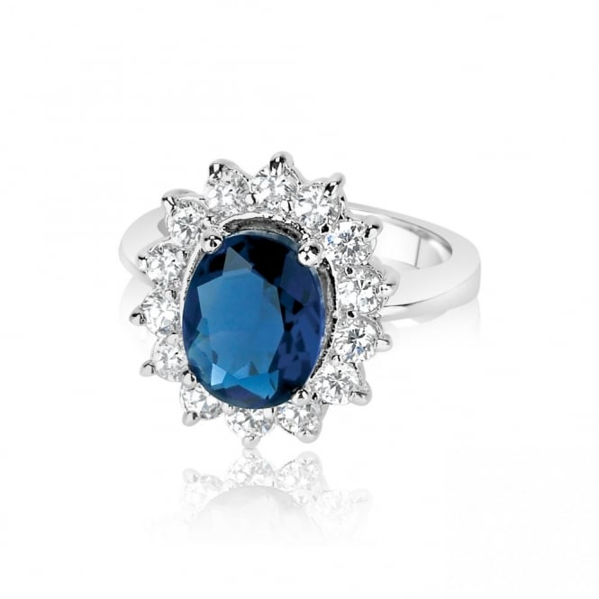 Sapphire Blue and Cubic Zirconia Ring
