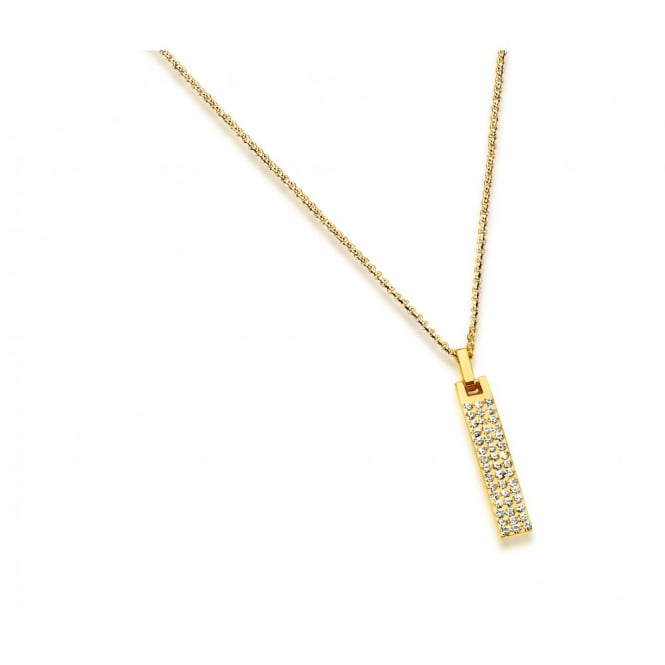 Necklace gold Plated Bar Pendant Pave set Crystals. 40mm Drop.