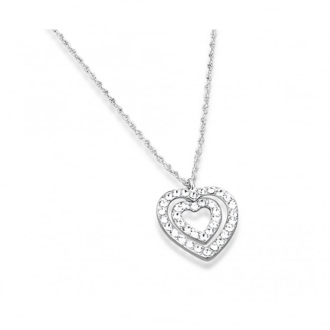 Stunning Double Heart Pendant with Crystal Stones.