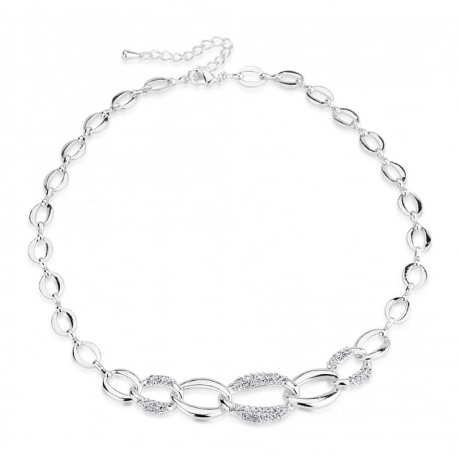 Link Chain Rhodium Plated Necklace.