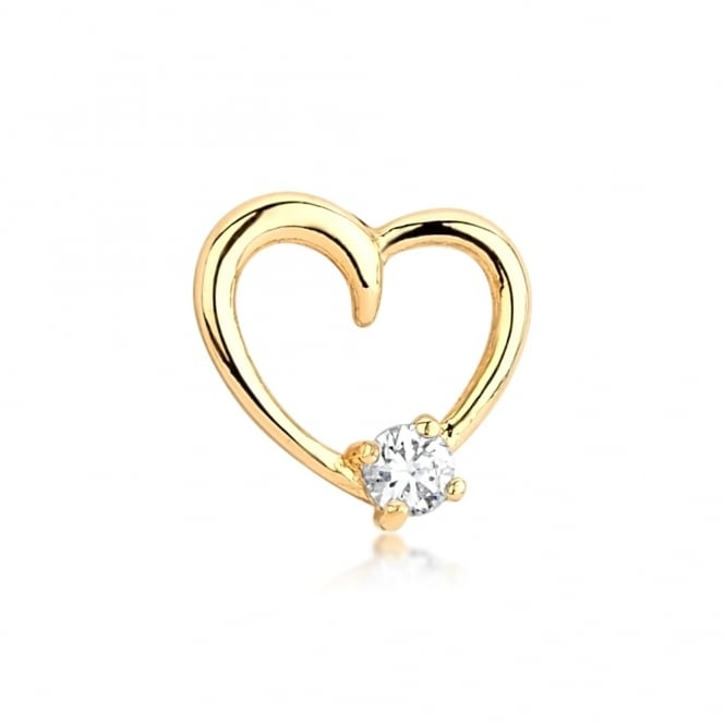 Love Heart Gold Plated Earring with Cubic Zirconia Stone. 10mm drop.