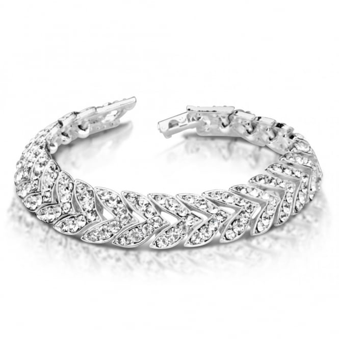 Stunning Classic Silver plated Bracelet With Channel Set Crystal Stones.