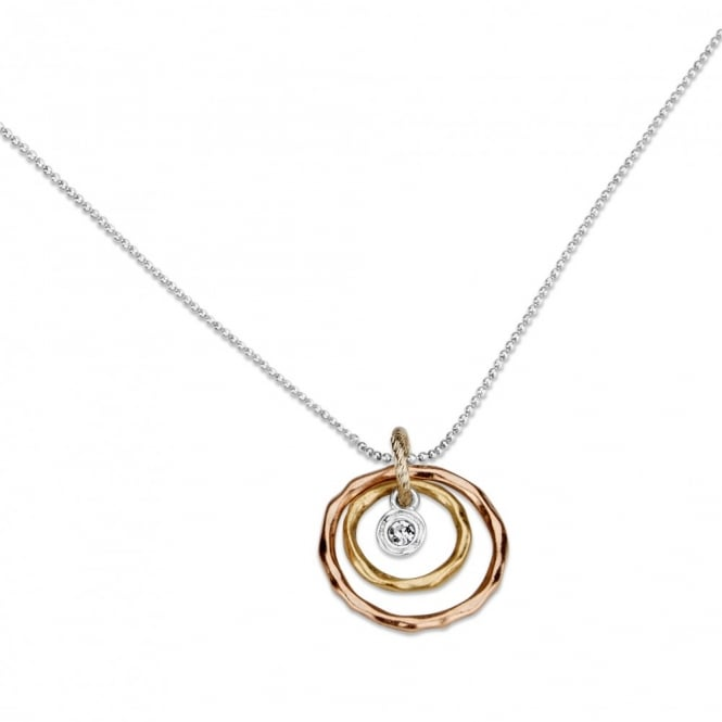 "SALE PACK OF 4 Circular Design Rose Gold Plated Necklace 30"" Chain. Pouch."