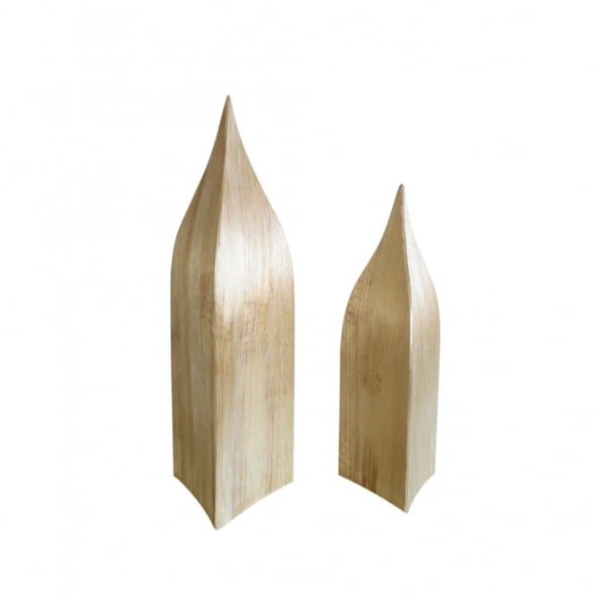 SALE Set of 2 Natural Pointed Triangle Tower Stand Set of 2.Largest is 49cm high and small size 39cm high