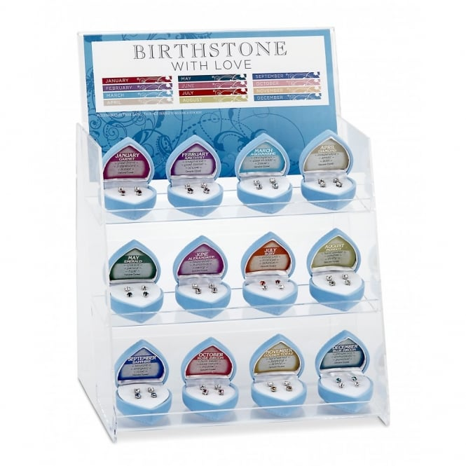 Birthstone Earrings Display With 3 Of Each Month