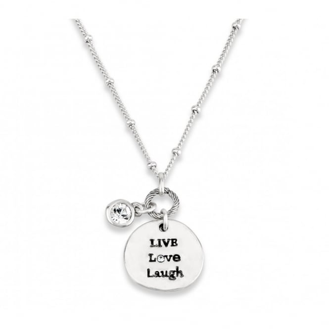 SALE PACK OF FOUR. Silver Plated Live, Love, Laugh Friendship Necklace.
