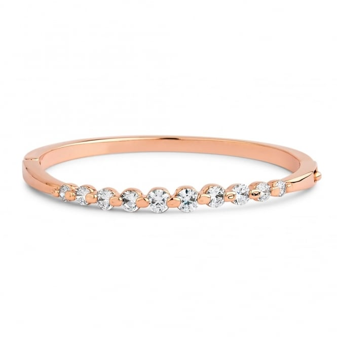 Rose Gold Plated Bracelet With 10 Tension Set Cubic Zirconia Stones.