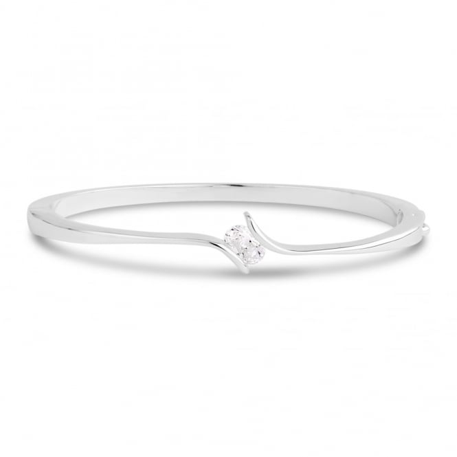 Oval Shaped Cubic Zirconia Bracelet with a Twist Fixed Setting.