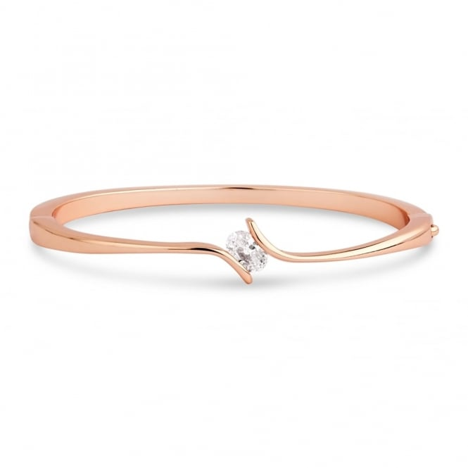 Price for Pack of Two. Oval Shaped Cubic Zirconia With a Twist Fixed Setting, Bracelet in Rose Gold Plating.