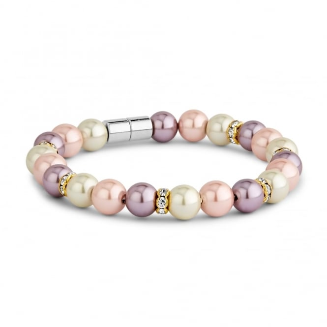 Pearl and Crystal Mixed Coloured Magnetic Beaded Bracelet.