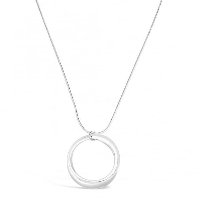 Simple Round Disc Design, 20'' Silver Plated Necklace on Snake Chain. 45mm Drop.