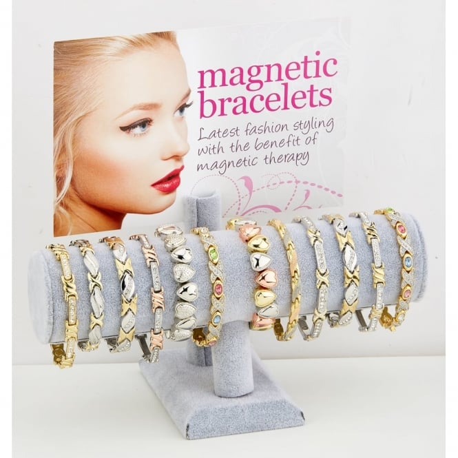 Magnetic Bracelet Display.Contains 24 Assorted Metal Magnetic Bracelets.
