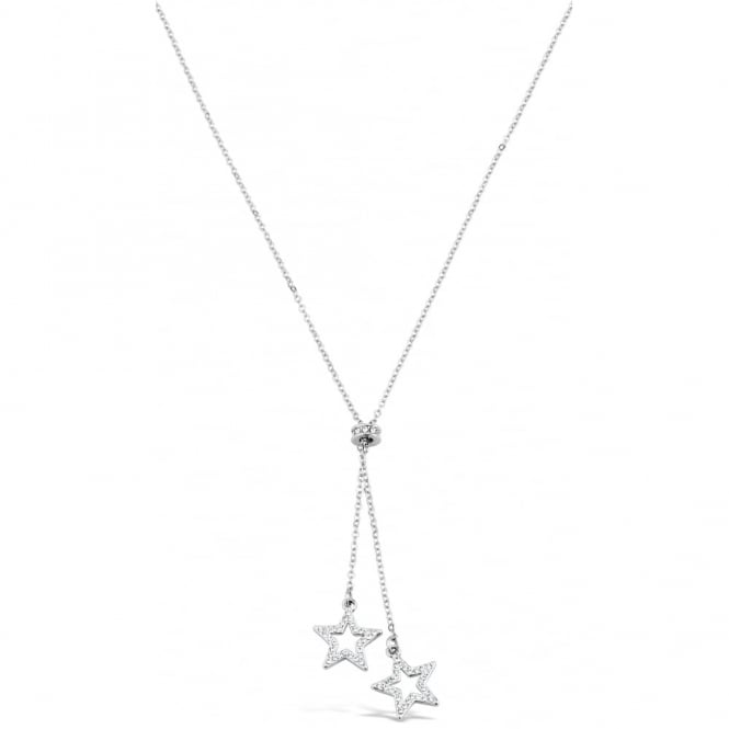 Delicate Silver Plated Necklace with Crystal Star Pendant. 15mm Drop.