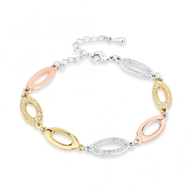 Price for Pack of Two. Oval Shaped Alternate Plain then Crystal Bracelet.