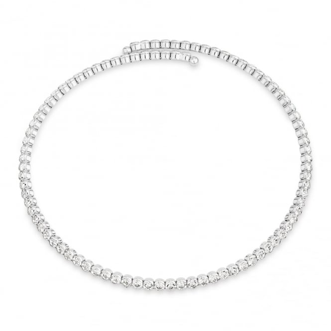 Stunning Rhodium Plated with Crystals Expandable Collar Necklace.