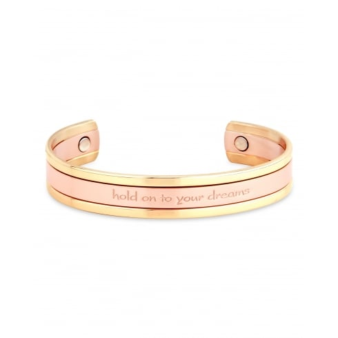 "Magnetic Alloy Bangle. Rose Gold Plated edging with ""Hold on to your dreams""."