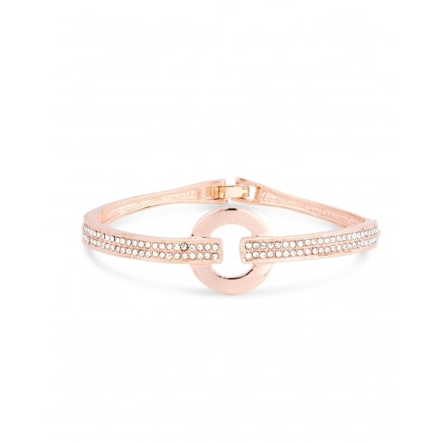 Rose Gold Plated Bracelet with Double Row Crystal Stones. Circular Centre Piece.