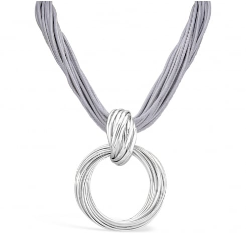 Stylish Grey Rope Necklace with Silver Plated Necklace
