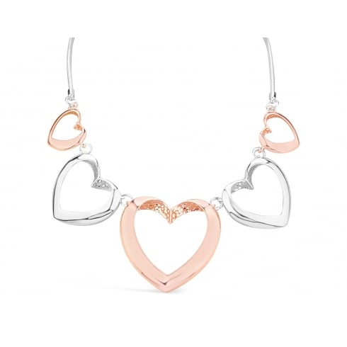 **Lovely Heart Detailed Necklace. Silver & Rose Gold Plated.