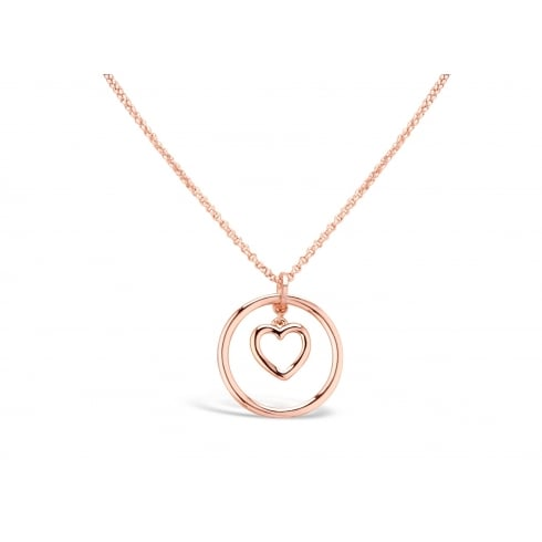 Price for Pack of Two. Rose Gold Plated Circular Pendant with Heart Drop Charm.