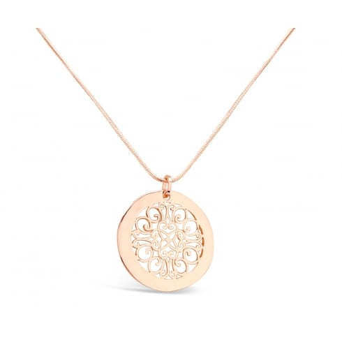 Rose Gold Plated Fillergree Pendant Necklace