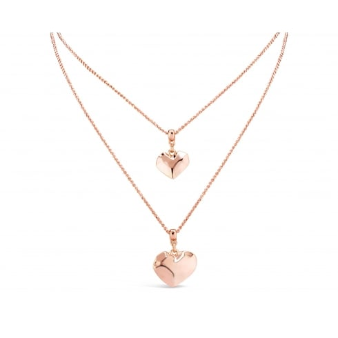 Simply Elegant Rose Gold Plated Necklace with Two Heart Pendants.