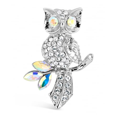 30mm Width. Crystal Owl on a Branch Brooch.