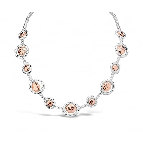 Silver & Rose Gold Plated Ridged Design Necklace.